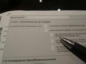 SOLL und IST Versteuerung wählen im steuerlichen Erfassungsbogen des Finanzamtes